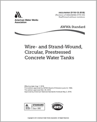 AWWA D110-13 (R18) Wire- and Strand-Wound, Circular, Prestressed Concrete Water Tanks